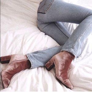 Zara Crushed Velvet Booties